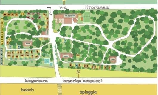 Plattegrond Camping Internazionale Castelfusano