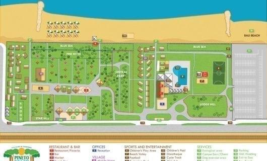 Plattegrond Pineto Beach Camping Village